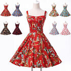 Sexy Vintage Floral 50s Rockabilly Pinup Cocktail Party Swing Jive Evening Dress