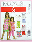 McCall's 6022 Sewing Pattern Child's/Girl's Top Dress Shorts Trousers Easy A3-14