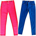 Jeans Trousers Stretch Girl's Pink Blue New UK 9 10 11 12 13 14 Years Cotton