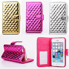 Luxury Thick Leather Grid Wallet Card Flip Case Cover For iPhone5 5S 4 4S LBPF