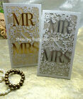 ONE SAMPLE  Mr & Mrs Wedding laser cut Hot stamp  invitations + Envelope + seals