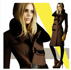 Womens Fur Collar Double-Breasted Woolen Coat Slim Long Thick Uniform Jacket