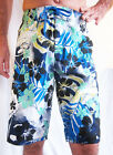 HAWAIIAN SHORTS/BOARDERS WITH HIBISCUS FLOWESRS, SURFER HOLIDAY SWIM BEACH-WEAR