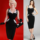Vintage Womens Cocktail Party Sheath Business Bodycon Pencil Pinup Cotton Dress