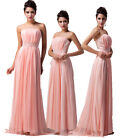 PINK Strapless Evening Maxi Bridesmaid Ball gown Pleated LONG Prom Party dress 1