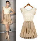 New Womens Retro Lace Sleeveless Pleated Skirted Party Chiffon Dress 8 10 12 14