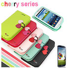 Luxury Cherry Leather Flip Wallet Case Cover For Samsung Galaxy S3 i9300 FYTM