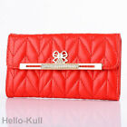 Luxury Leather Bling Diamond Bow Red Wallet Flip Case Cover For iPhone5 5S HTBR