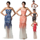 5Color Long Lace Tulle Evening Prom Bridesmaid Dress Formal Ball Gowns Size 6-20