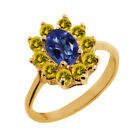 1.45 Ct Oval Tanzanite Blue Mystic Topaz Yellow Sapphire 18K Yellow Gold Ring