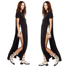 New Sexy Womens Open Side Cut Out Long Maxi T Shirt Prom cocktail Party Dress