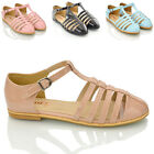 WOMENS CUT OUT FLAT T BAR LADIES GEEK WORK OFFICE DOLLY SANDALS PUMPS SHOES SIZE
