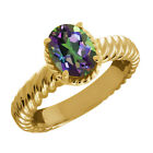 2.30 Ct Oval Green Mystic Topaz 14K Yellow Gold Ring