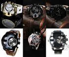 Cool Original Mens Stainless Steel& Alloy  Dial Synthe Leather Band watch 5types