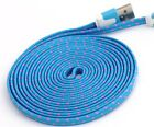 Flat Braided Noodle Fabric Micro USB Charger Cable for iphone 8 7 6 4 5s 5c plus