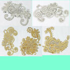 Delicate Crystal Rhinestone Lace Applique Flower Motif Patch Sewing Trimmings