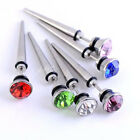 2pc Crystal Illusion Ear Fake Cheater Spike Plugs Tunnel Punk 16G Look 0G Jewel