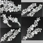 1Pc Delicate Design Off-white Lace Applique Flower Motif Patch Sewing Trimmings