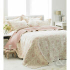 French Toile Pink 100% Cotton Bedspread – Single Double King Bed Throw Over
