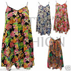Womens Ladies Long Floral Flower Print Strappy Chiffon Swing Flared Vest Top