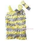 Baby Girl Yellow White Gray Bow Chevron Satin One Piece Romper & Accessory NB-3Y