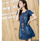 Fashion Womens Denim Short Sleeve Jean Loose Mini Casual Button Down Shirt Dress