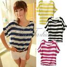 Womens Girl Stripe Print Chiffon Tee Shirt Batwing Short Sleeve Loose Blouse Top