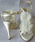 Ivory Satin & Ruffle Detail Jasper Conran Designer Wedding Bridal Shoes RRP £65