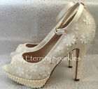 Ivory Pearl & Sequin 3D Flower Peep Toe Ankle Strap Wedding Bridal Shoes