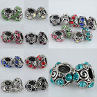 Wholesale Mixed Color Crystal Spiral European Big Hole Charm Bead Fit Bracelet