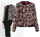 Vintage Stand-up Collar Autumn Floral Printed Basic Bomber Jackets Tops S M L