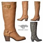 Womens Rocket Dog Sebastian Knee High Heeled Winter Boot Whiskey Charcoal Size
