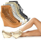 Open Toe Lace Up Cut Out Ankle Bootie Cage Platform Wedge High Heel Pump US 5-11