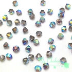 Crystal AB Satin (001 AB SAT) Swarovski Elements 5328 / 5301 3mm Bicone Beads