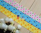 "7/8""(U PICK) Two color Polka Dots Grosgrain Ribbon 4 hair Bow 5/10/20/50 Yds"