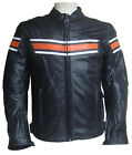 Cowhide Mens Motorbike Motorcycle Bike Leather Jacket with Armour Black Orange