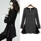 New Womens Autumn Dress Tops Blouse Long Sleeve Splice Cocktail Casual Skirts