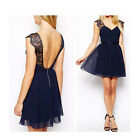 Sexy Womens Deep V Neck Lace Halter Club Evening Party Cocktail Chiffon Dress