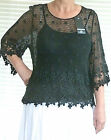 BNWT Gorgeous lagenlook crochet style cotton daisy lace top set OSFA  RRP £49