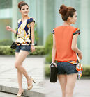 Vintage Women's Chiffon Short Sleeve Casual Printed T-shirt Top Blouse UKFO