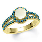 1.15 Ct Round Cabouchon White Opal Blue Diamond 14K Yellow Gold Ring