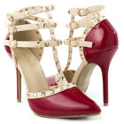 Red Patent Leather Pointy Toe T Strap Ankle Stud Stiletto High Heel Pump US 5-11