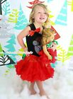 "XMAS Rhinestone Santa Claus Top Red Skirt 18"" American Doll Outfit Set NB-8Year"