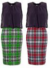 Womens Keyhole Chiffon Tartan Ladies Bodycon Pencil Skirt Dress (Size, 8 to 14)