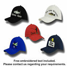 Fishing and angling personalised embroidered own text baseball caps