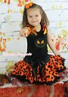 Halloween Christmas Jack Black Top Girl Orange Dot Skirt Girl Outfit Set 1-8Year