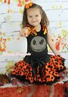 Halloween Rhinestone Christmas Jack Black Top Girl Orange Dot Pettiskirt 1-8Year