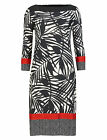 PER UNA M&S NEW BLACK CREAM RED PALM LEAF PRINT KNEE LENGTH DRESS SIZES 8-18