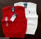 NWT Ralph Lauren Boys Cable Sweater Vest Red or Cream Sz 2/2t or 3/3t NEW $40 4a