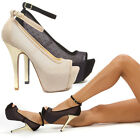 Womens Gold Open Toe Ankle Strap Mesh Platform Stiletto High Heel Pump US 5-11